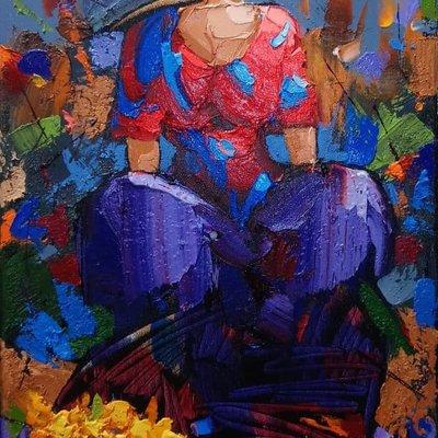 6705 Çiçekçi Kadın 35x57